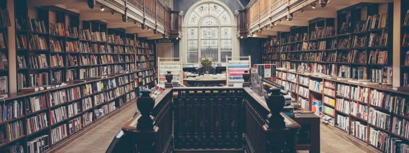 a library full of books