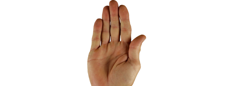 adult hand against a white background indicating that entering a caveat will stop the probate process